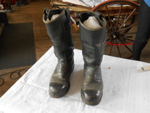 Fireman's boots after conservation cleaning